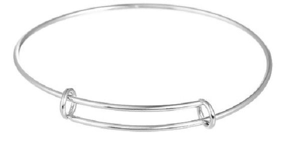 Stainless Steel Expandable Charm Bangle Bracelet 21 cm (8 2/8