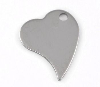 SILVER TONE - STAINLESS STEEL ' 28X21MM ANGLED HEART ' STAMPING BLANKS - PACK OF 1