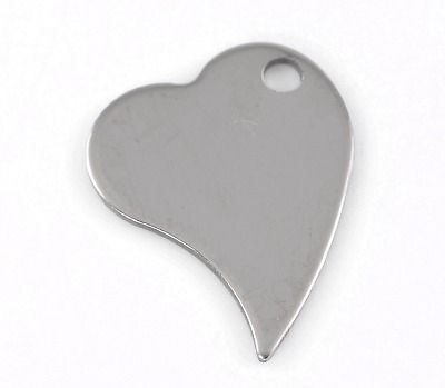 SILVER TONE - STAINLESS STEEL ' 28X21MM ANGLED HEART ' STAMPING BLANKS - PA