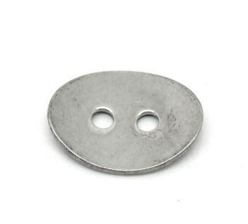 SILVER TONE - STAINLESS STEEL ' 14 x 11 MM OVAL BUTTON ' STAMPING BLANKS - PACK OF 5
