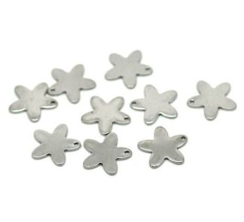 SILVER TONE - STAINLESS STEEL ' 14 X 13 MM FLOWERS ' STAMPING BLANKS - PACK OF 10