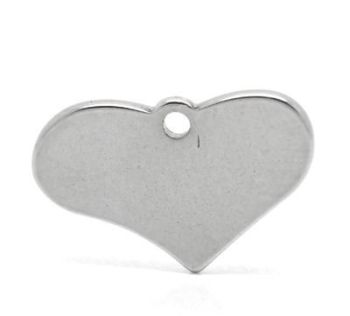 SILVER TONE - STAINLESS STEEL ' 12 X 19 MM HEART ' STAMPING BLANKS PACK OF 1