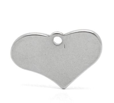 SILVER TONE - STAINLESS STEEL ' 13 X 19 MM HEART ' STAMPING BLANKS PACK OF