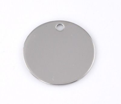 SILVER TONE - STAINLESS STEEL ' 20 MM ROUND ' STAMPING BLANKS - PACK OF 5