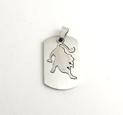 STAINLESS STEEL BLANK - RECTANGLE PENDANT WITH LION SHAPED CUT-OUT - 34 mm