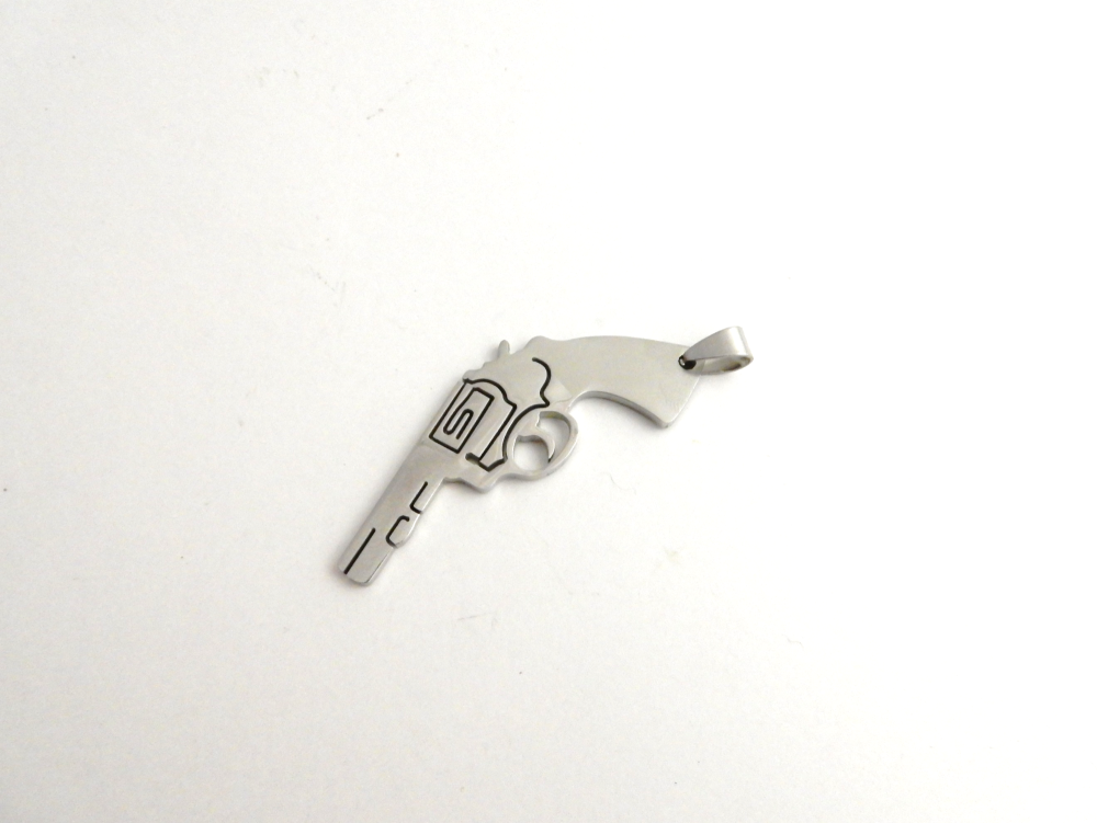 STAINLESS STEEL BLANK - GUN REVOLVER PENDANT WITH BAIL 56 mm x  28 mm - SIL