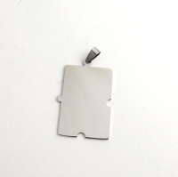 STAINLESS STEEL BLANK - LARGE PUZZLE PIECE PENDANT WITH BAIL - 30 mm x  40 mm - SILVER TONE  Pack Of 1