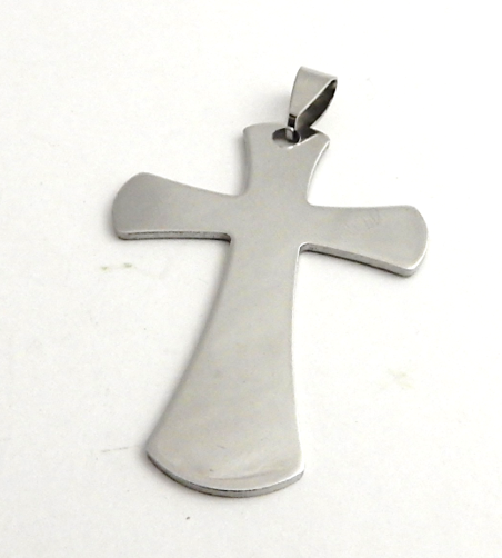 STAINLESS STEEL BLANK - LARGE CROSS PENDANT WITH BAIL - 50 X 35 mm  SILVER