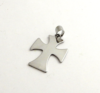 STAINLESS STEEL BLANK - CROSS PENDANT WITH BAIL - 30 X 24 mm  SILVER TONE  Pack Of 1
