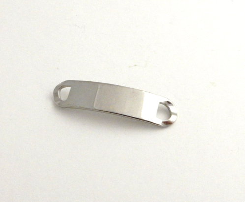 STAINLESS STEEL BLANK - SHOE TRAINER TAG 44 X 10 mm  SILVER TONE  Pack Of 2