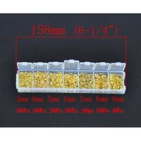 Alloy Open Jump Rings Mixed Gold Plated 3 - 9 MM, 1 Box (1780 PCs Assorted)