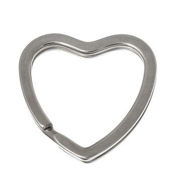 HEART KEY/SPLIT RING - PACK OF 5 - SILVER TONE