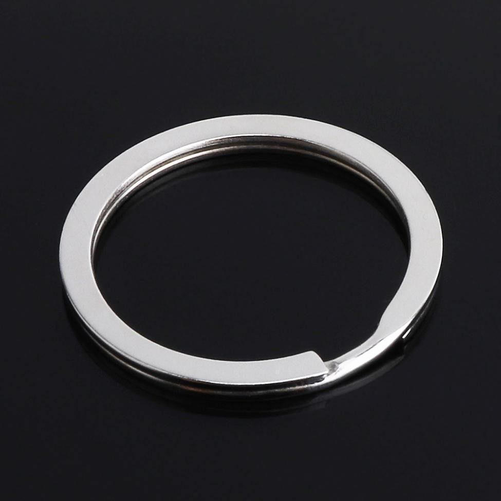 LARGE ROUND KEY/SPLIT RING - 30 MM - SILVER PLATED - PACK OF 5