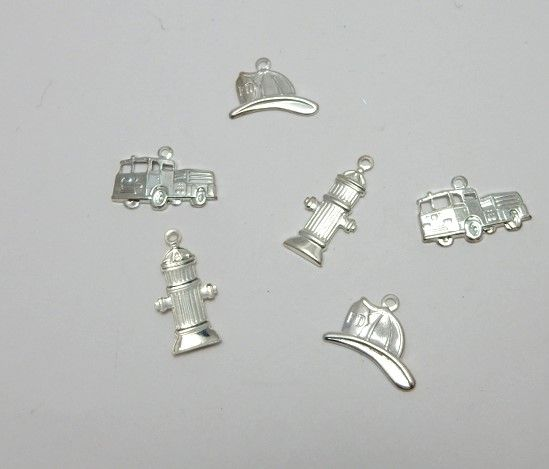 Firefighter mix charms sterling silver plated fine stampings x 6 fire engin