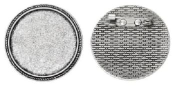 Brooch pin setting round tray 30 mm antique silver pack of 10