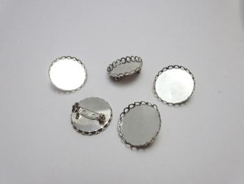 """Silver plated 1"""" 25 mm round Setting pin brooch bezel tray single frilled edge"""