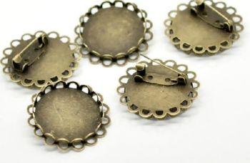 """Bronze 1"""" 25 mm round Setting pin brooch bezel tray double frilled edge pack of 5"""
