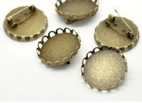 "Bronze 1"" 25 mm round Setting pin brooch bezel tray single frilled edge"