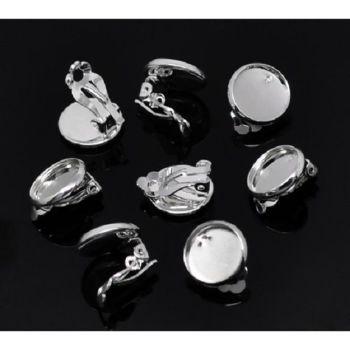 Earring Settings 16 mm silver tone Clip Ons