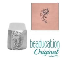 DS623 Hip Peacock Feather Beaducation Original Design Stamp 11 mm