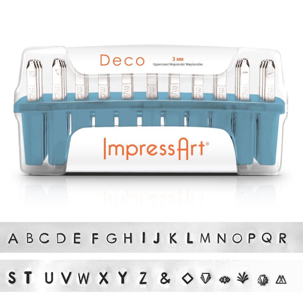 ImpressArt Standard Deco 3mm Alphabet Upper Case Letter Metal Stamp Set