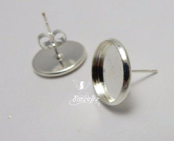 Earring stud settings 16 mm Bulk x 50 pairs silver plated