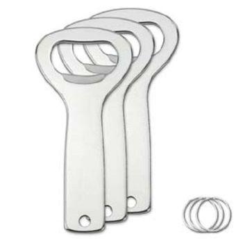 Bottle Opener - Aluminium - with 25 mm Split Ring pack of 10