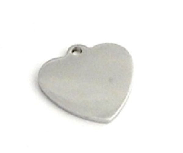 STAINLESS STEEL BLANK - HEART - SILVER TONE 20mm( 6/8