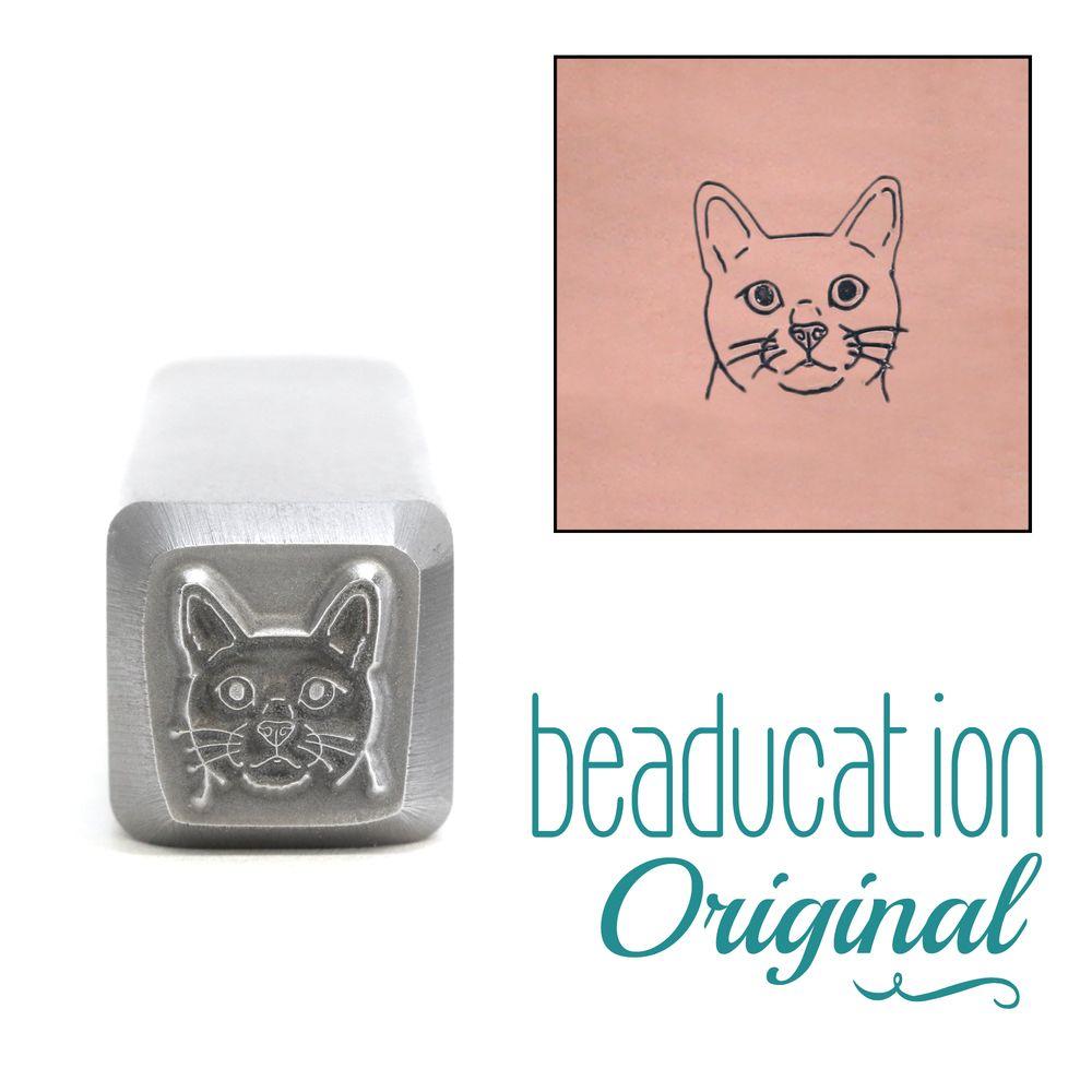 813 Cat Face Beaducation Original Design Stamp