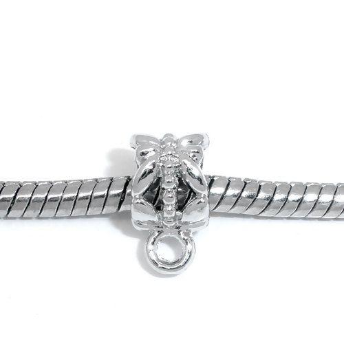 50 Silver Tone Bail Beads will Fit European Bracelets 12 x 6 mm