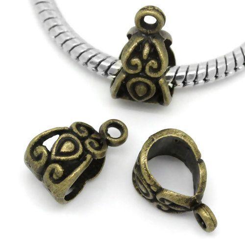 European Charm Bail Beads Antique Bronze Pattern Carved Fit European Bracel