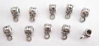 50 x STAR STAMPED BAILS 5 mm Hanger Beads Loop TIBETAN SILVER