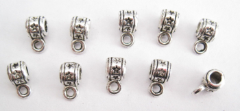 50 x STAR STAMPED BAILS 5 mm Hanger Beads Loop TIBETAN SILVER