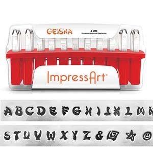 ImpressArt Standard Geisha 4 mm Alphabet Upper Case Letter Metal Stamp Set