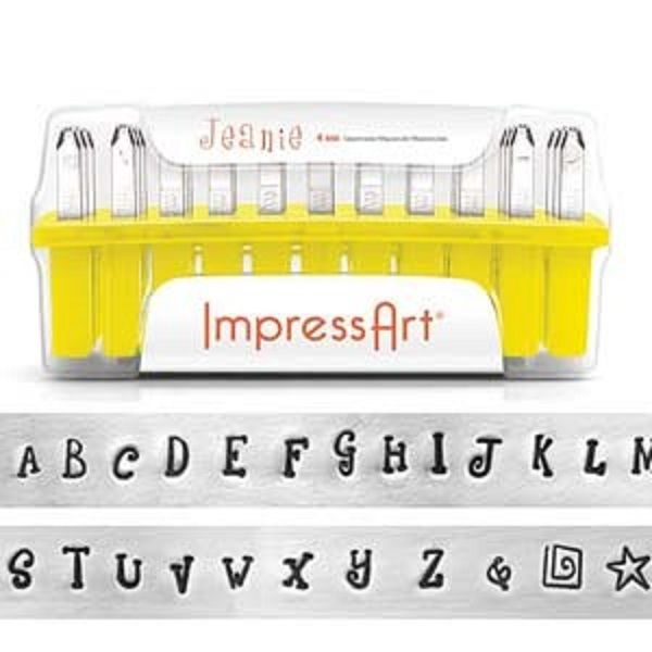 ImpressArt Standard Jeanie 4 mm Alphabet Upper Case Letter Metal Stamp Set