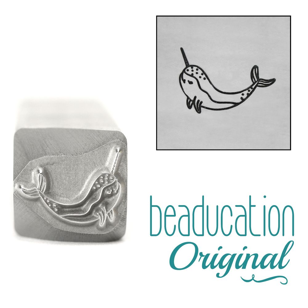 956 Narwhal Whale  Beaducation Original Design Stamp 11 mm