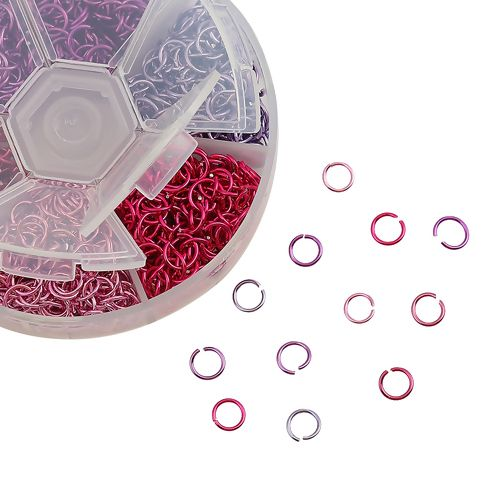 Aluminum Opened Jump Rings Mixed 6mm Dia, 1 Box (Approx 1080 PCs)  pink pur