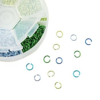 Aluminum Opened Jump Rings Mixed 6mm Dia, 1 Box (Approx 1080 PCs) blue greens