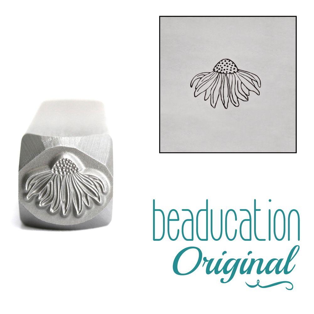887 Echinacea Flower Metal Design Stamp, 7mm Beaducation Original Design St