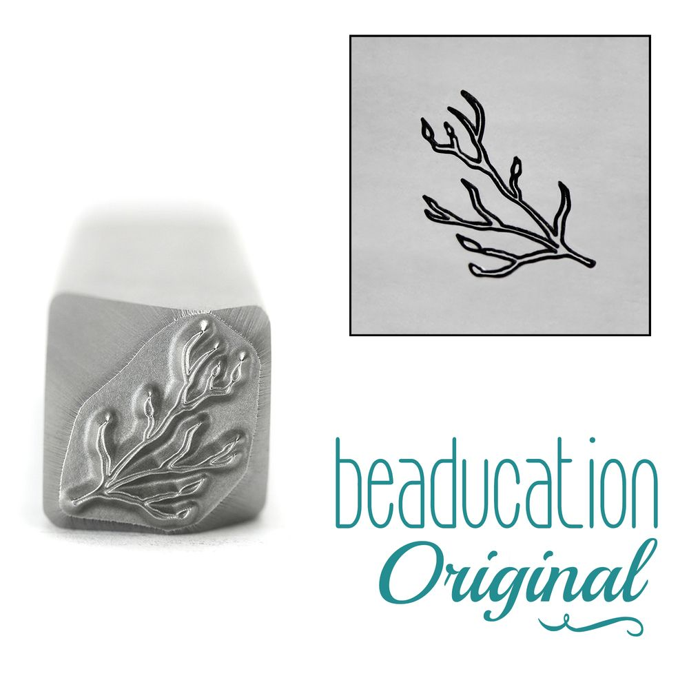 957 Branch / Stick with Buds Pointing Left Metal Design Stamp, 10.5mm - Bea