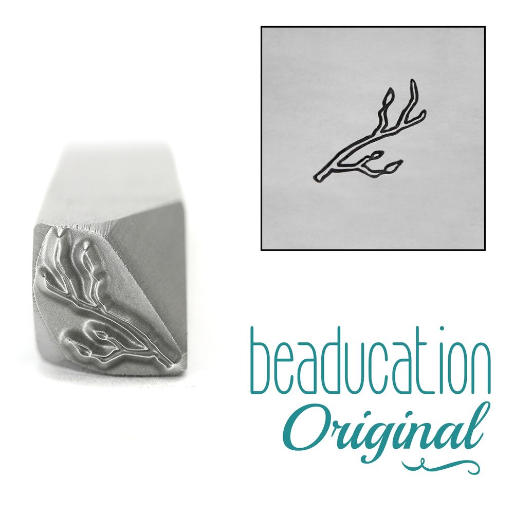958 Branch / Stick with Buds Pointing Right Metal Design Stamp, 8.2mm - Bea