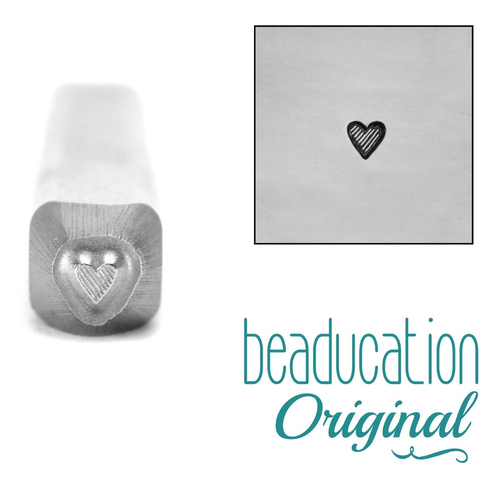 425 Tall Lined Heart Beaducation Original Design Stamp 2 mm