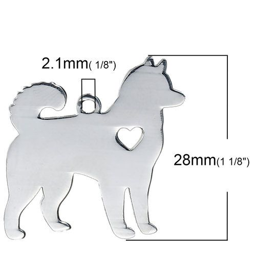 STAINLESS STEEL PENDANT BLANK -HUSKY - DOG WITH HEART - SILVER TONE Pack Of