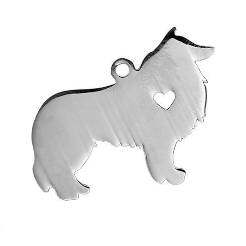 STAINLESS STEEL PENDANT BLANK -COLLIE - DOG WITH HEART - SILVER TONE Pack O