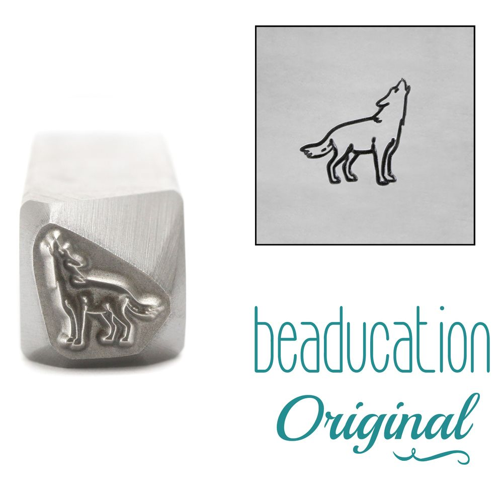 1017 Wolf Howling Facing Right Metal Design Stamp, 8.2 mm - Beaducation Ori