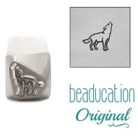 1017 Wolf Howling Facing Right Metal Design Stamp, 8.2 mm - Beaducation Original