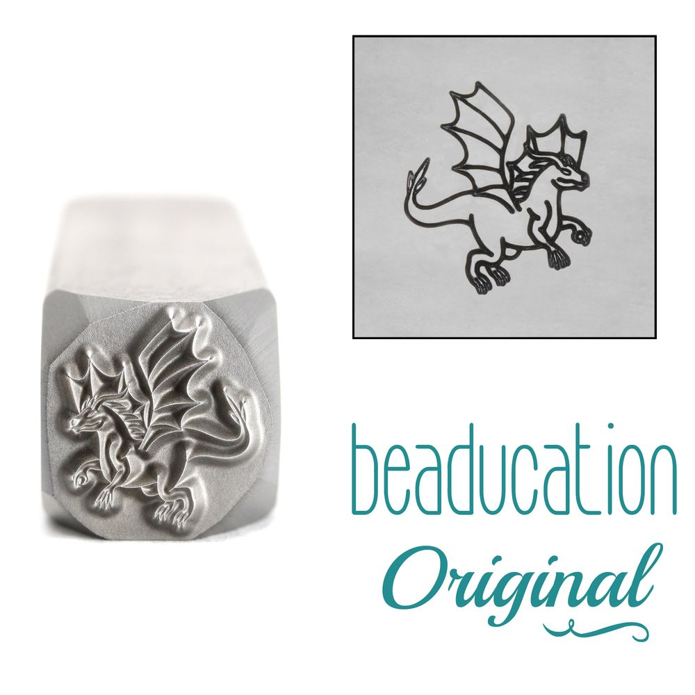 1027 Dragon Flying Right Beaducation Original Design Stamp