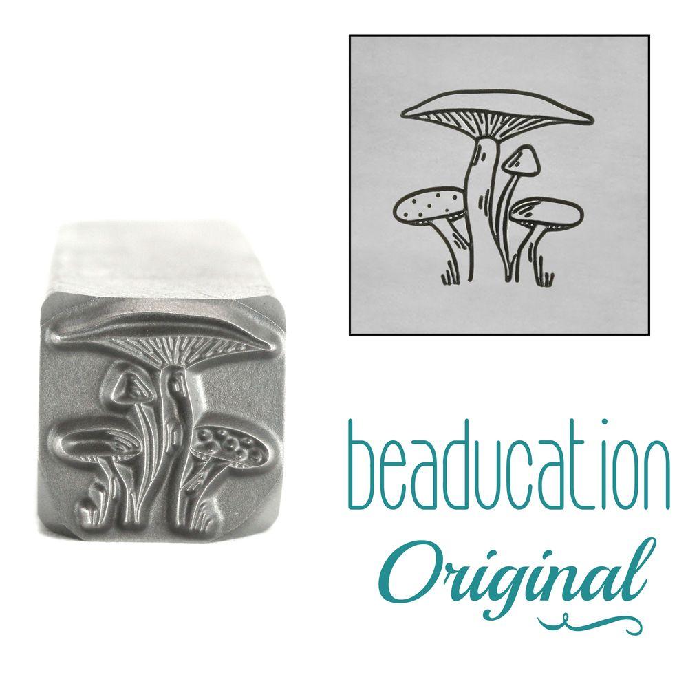 1023 Mushroom Bunch Metal Design Stamp, 11.2mm Beaducation Original Design