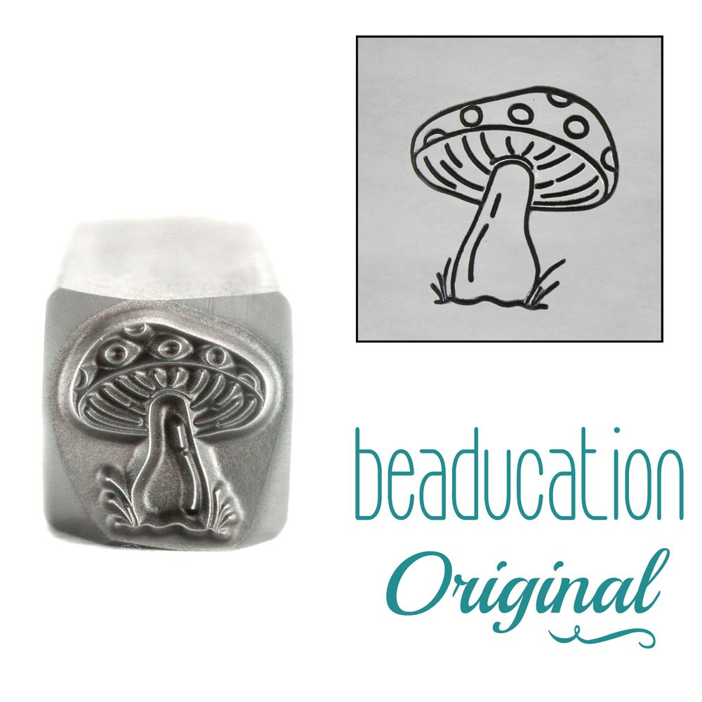 1022   Mushroom with Dots Metal Design Stamp, 10.5mm Beaducation Original D