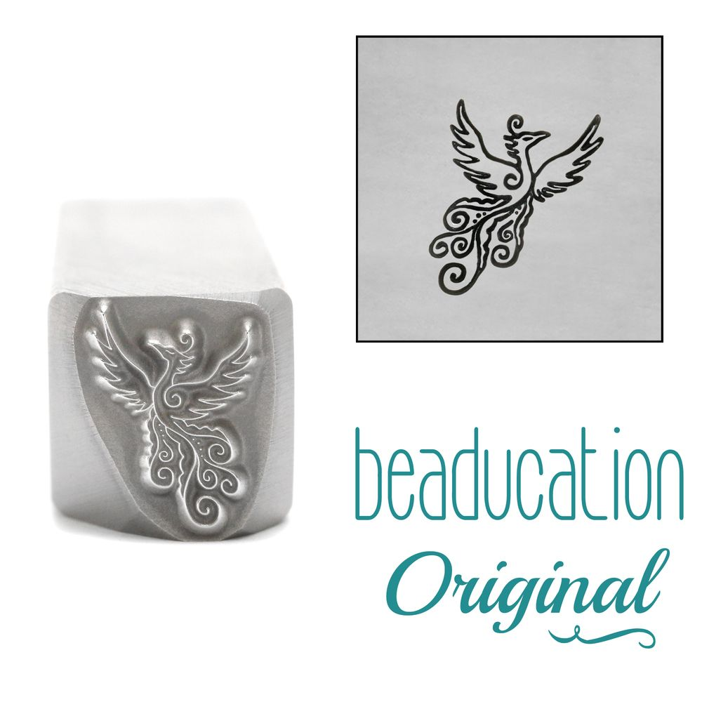 1018 Phoenix Flying Right Metal Design Stamp, Beaducation Original Design S